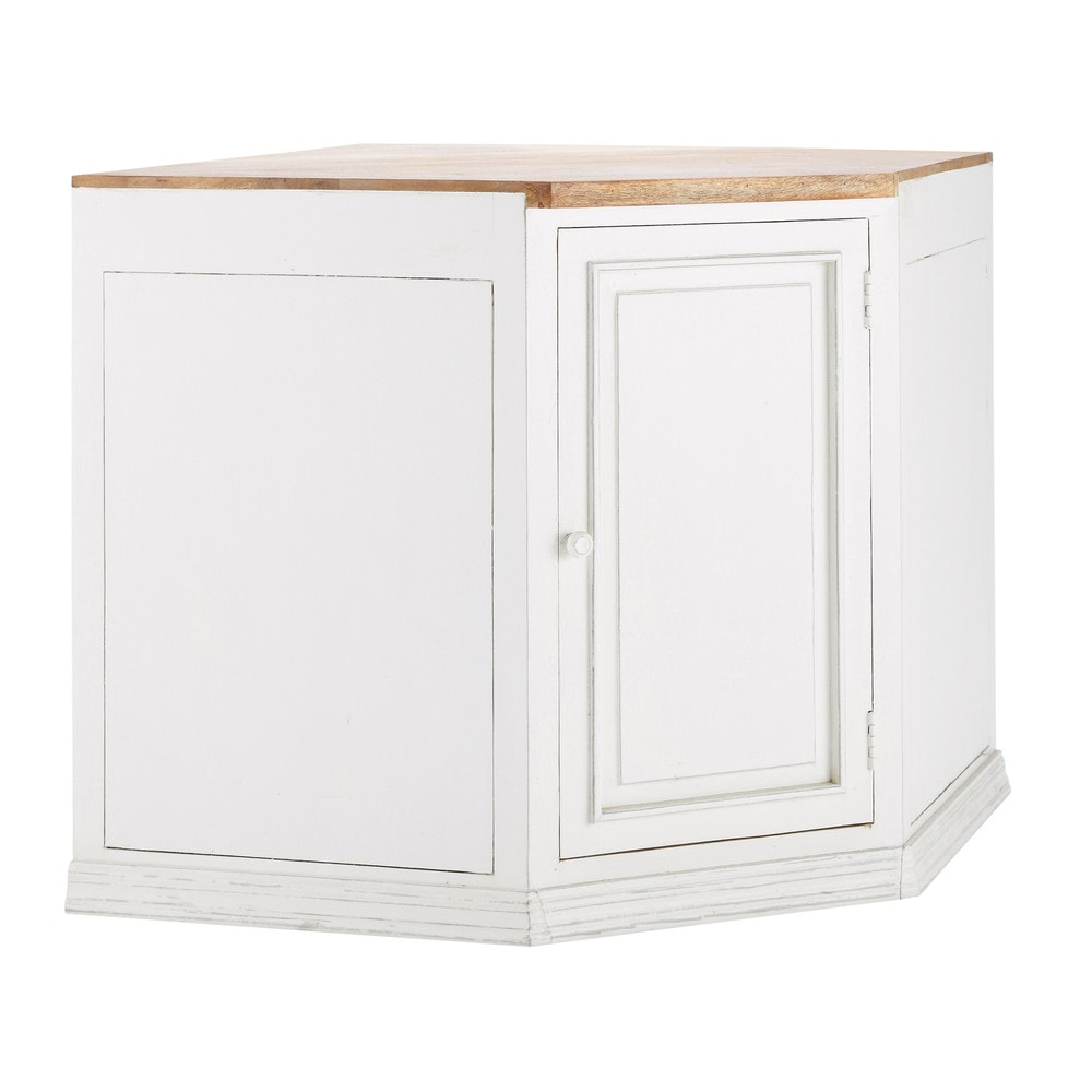 meuble bas d 39 angle de cuisine ouverture droite en manguier blanc l 133 cm eleonore maisons du. Black Bedroom Furniture Sets. Home Design Ideas