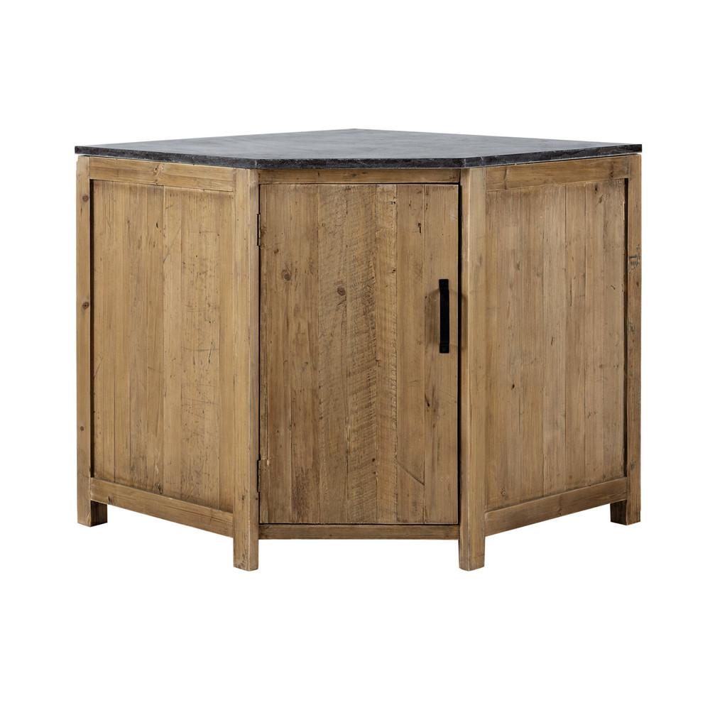 meuble bas d'angle de cuisine ouverture gauche en bois recyclé l ... - Meuble D Angle Bas Cuisine