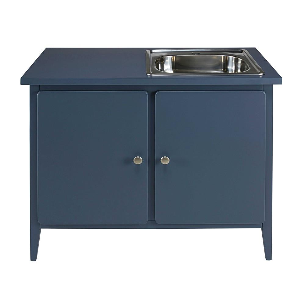 Meuble bas de cuisine 2 portes bleu gris thelma maisons du monde - Meuble bas deux portes ...