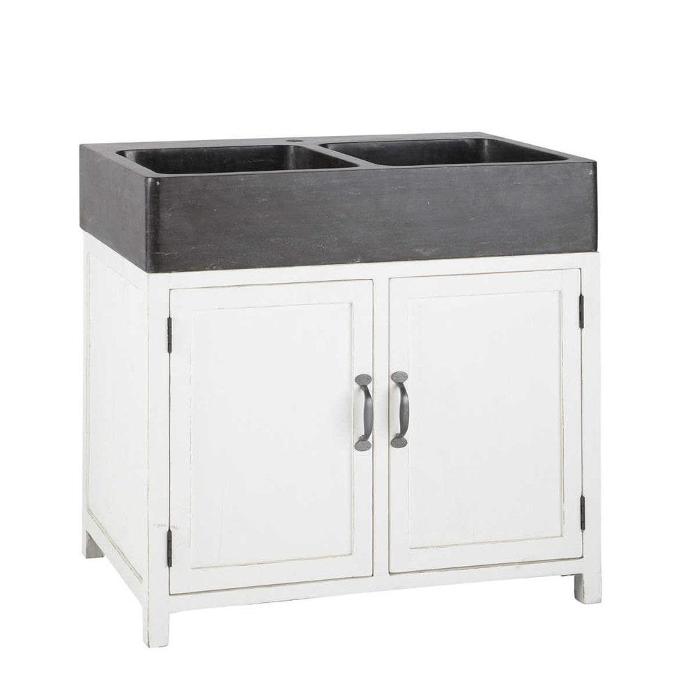 meuble bas de cuisine avec évier en bois recyclé blanc l 90 cm ... - Evier De Cuisine Avec Meuble