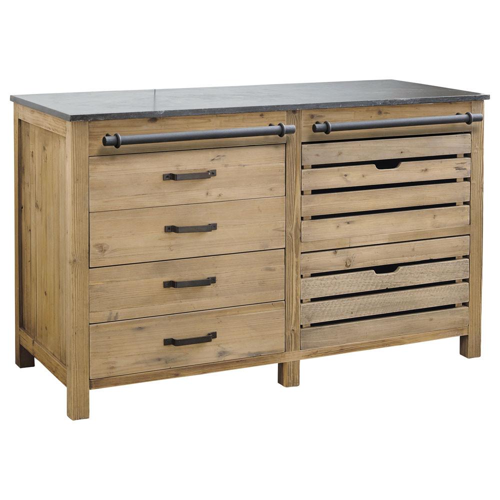 meuble bas de cuisine en bois recyclé l 140 cm pagnol | maisons du ... - Meubles Bas De Cuisine