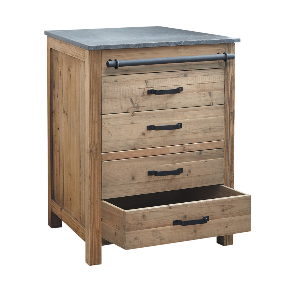 Meuble bas de cuisine en bois recycl l 70 cm pagnol for Meuble de cuisine en bois
