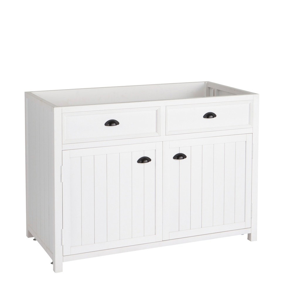 meuble bas de cuisine en pin blanc l 120 cm newport. Black Bedroom Furniture Sets. Home Design Ideas