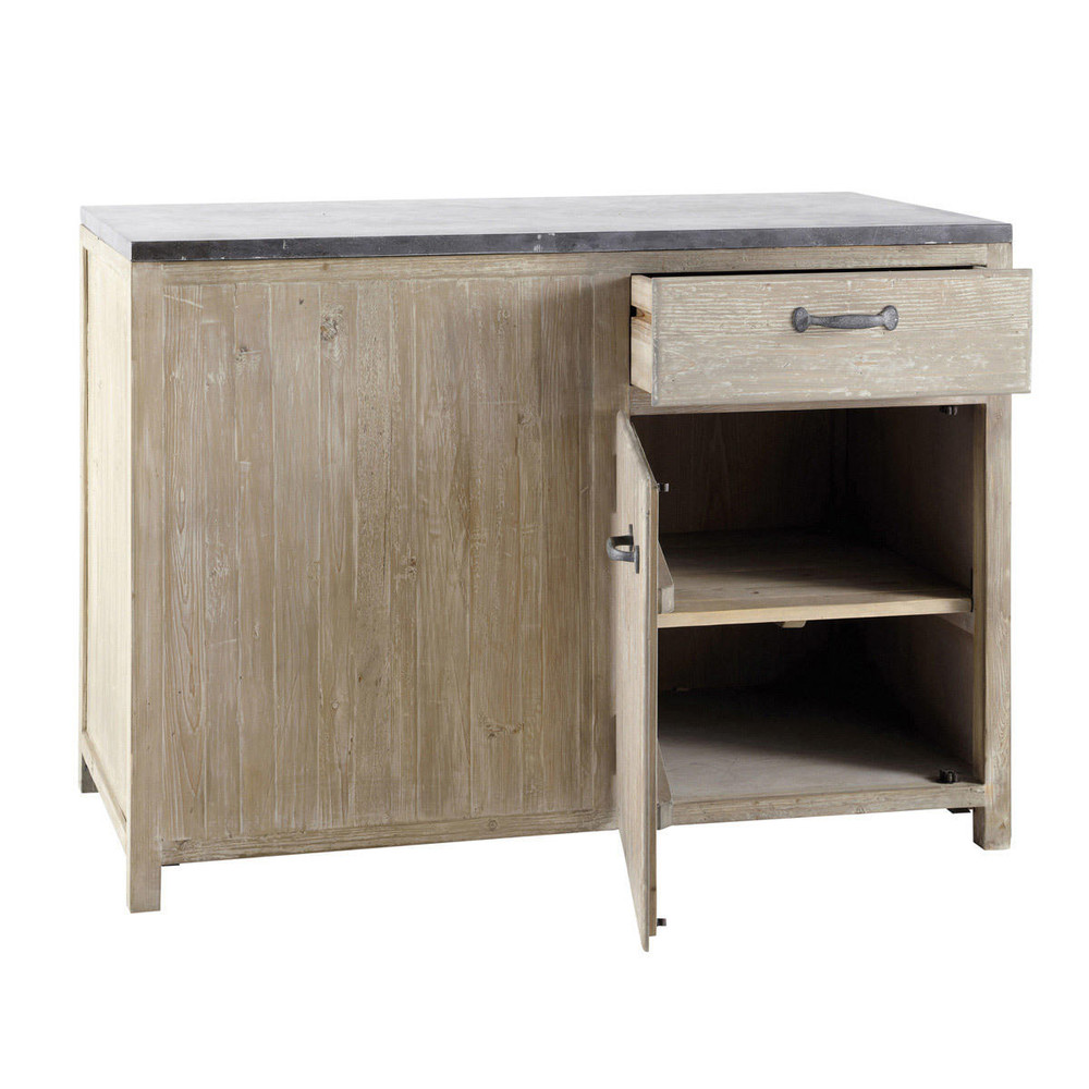 meuble bas de cuisine en pin recycl l120 copenhague. Black Bedroom Furniture Sets. Home Design Ideas