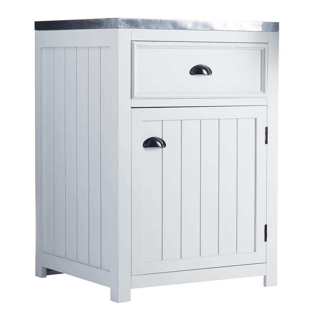 Meuble bas de cuisine ouverture gauche en bois blanc l 60 - Meuble cuisine bas 60 cm ...