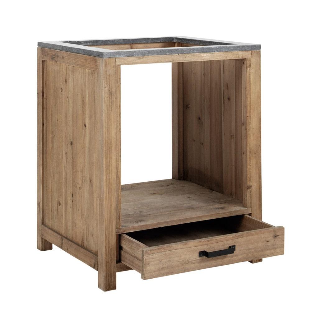 awesome meuble bas de cuisine pour four en pin recycl l with meuble pour table de cuisson. Black Bedroom Furniture Sets. Home Design Ideas
