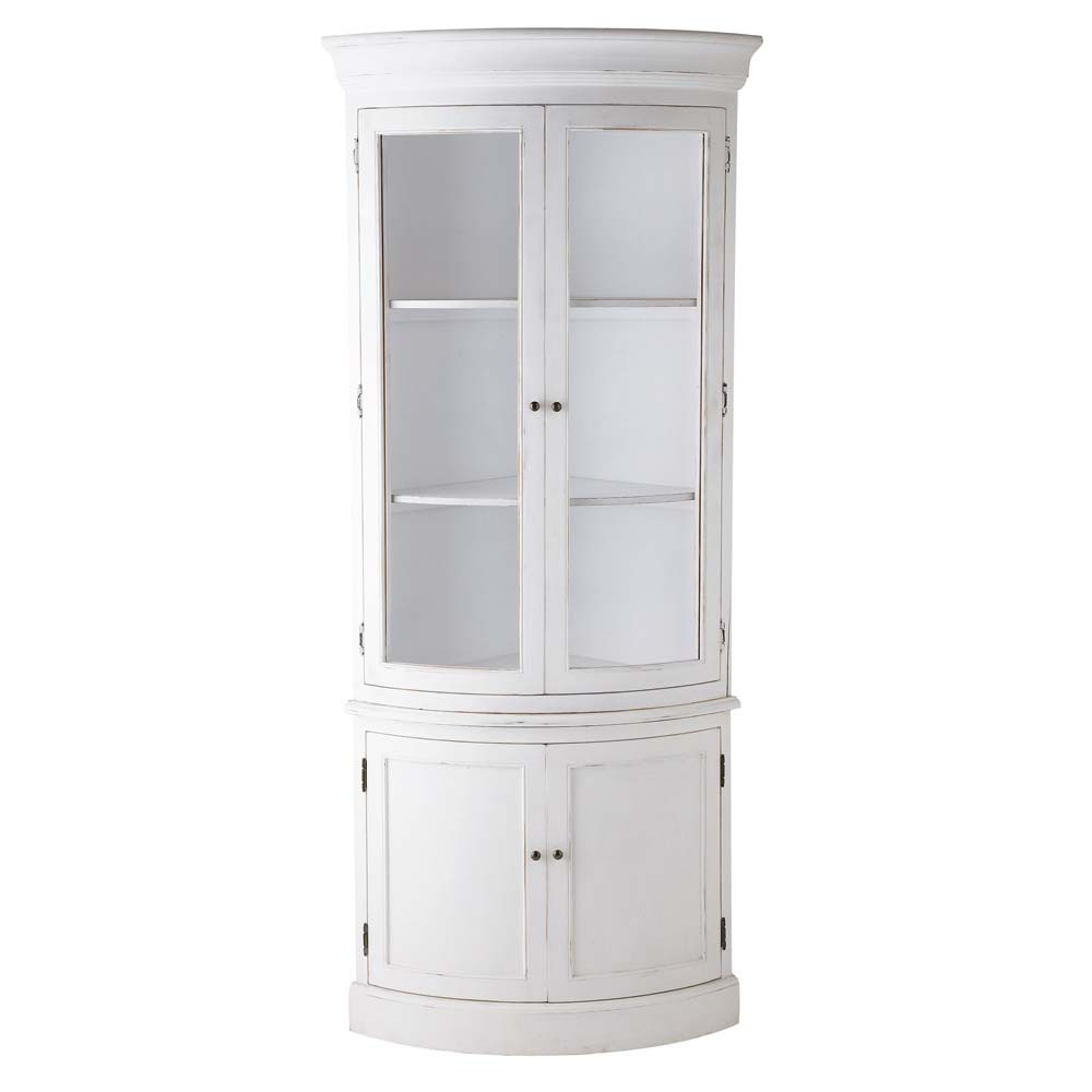 meuble d 39 angle en bois blanc l 68 cm sologne maisons du. Black Bedroom Furniture Sets. Home Design Ideas