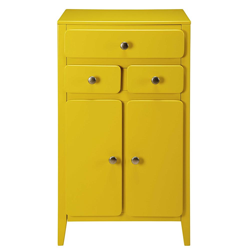 Meuble d 39 entr e 2 portes 3 tiroirs jaune moutarde thelma for Meuble bureau jaune