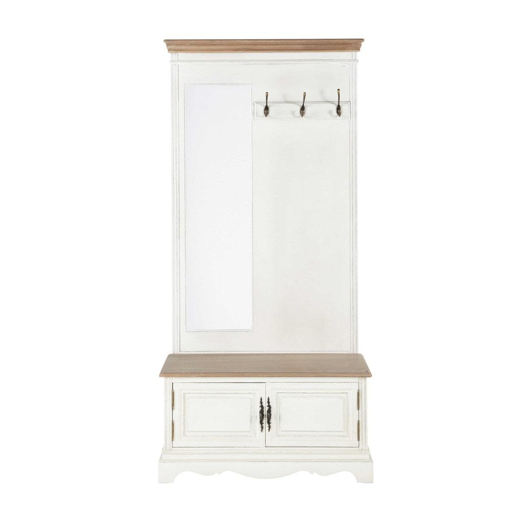 Meuble d 39 entr e avec miroir en bois cr me l 90 cm l ontine - Ikea meuble d entree ...