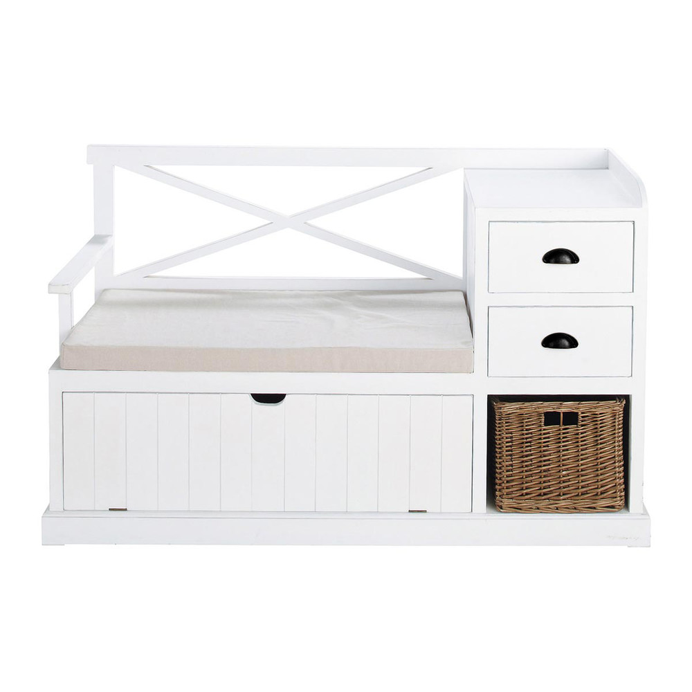 Meuble d 39 entr e en bois blanc l 135 cm freeport maisons for Meuble blanc 110 cm
