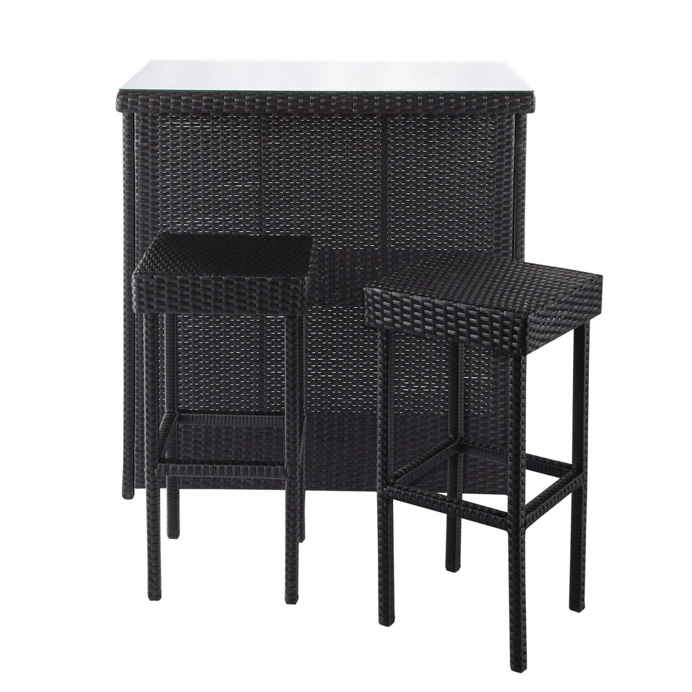 meuble de bar 2 tabourets de jardin en r sine tress e noirs l 102 cm antibes maisons du monde. Black Bedroom Furniture Sets. Home Design Ideas