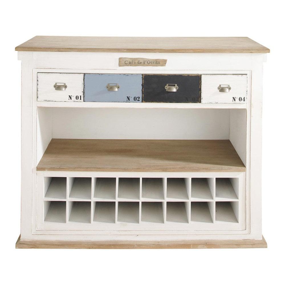 Meuble de bar avec tiroirs en bois blanc effet vieilli l for Meuble avec nombreux tiroirs