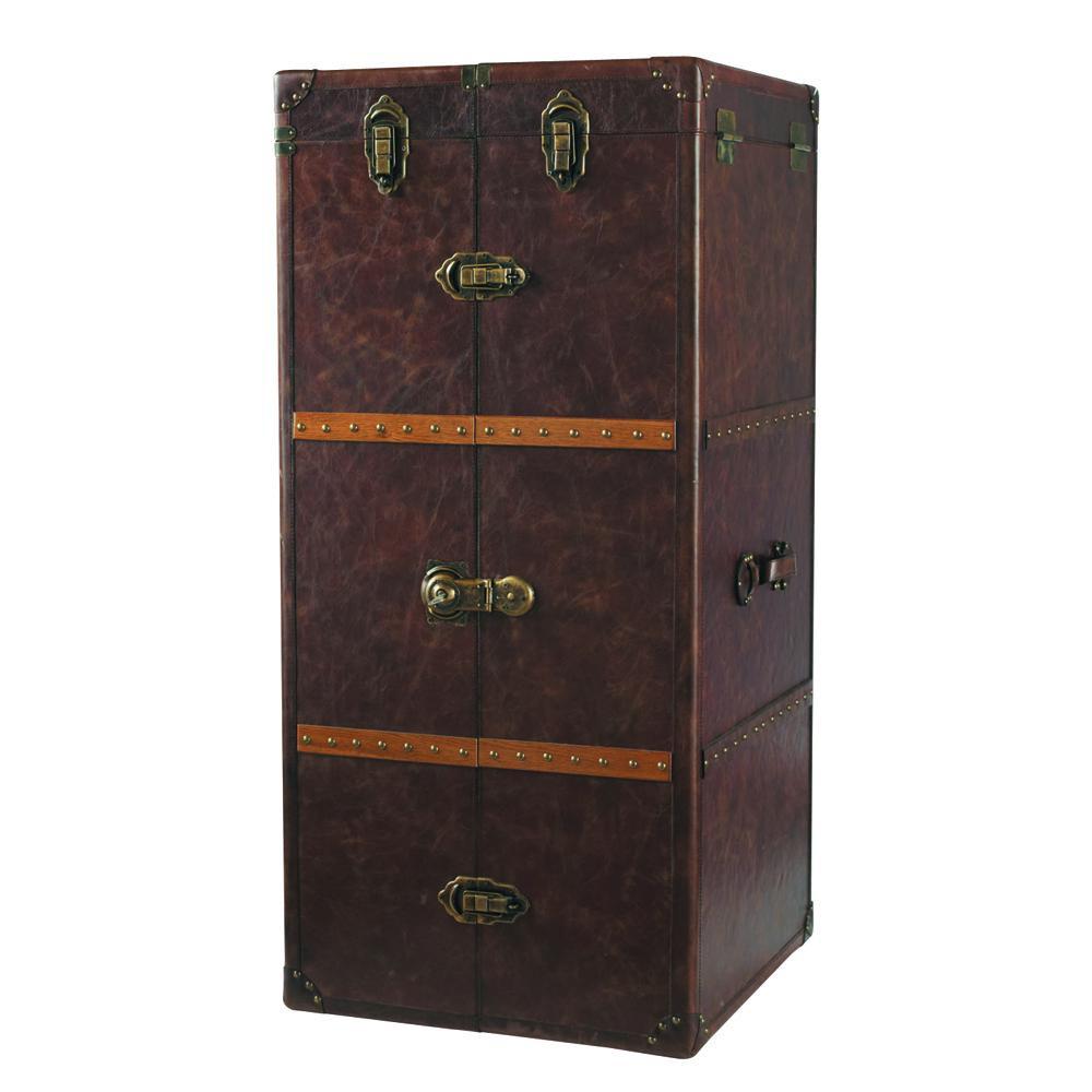 Meuble de bar avec tiroirs en cuir jules verne maisons for Meuble tiroir cuir