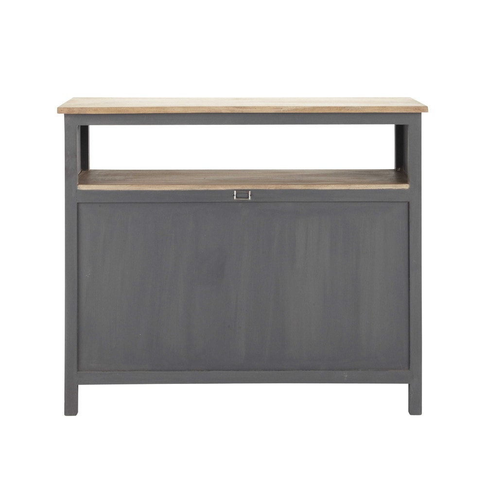 meuble de bar en bois gris l 120 cm chablis maisons du monde. Black Bedroom Furniture Sets. Home Design Ideas
