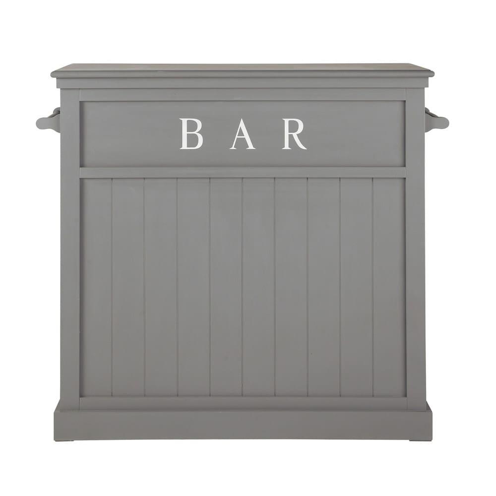 Meuble de bar en bois gris l 120 cm newport maisons du monde - Bar de maison ...