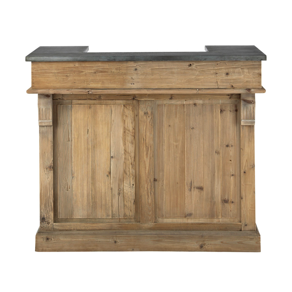 Meuble de bar en bois recycl l 120 cm pagnol maisons du monde - Bar de salon en bois ...
