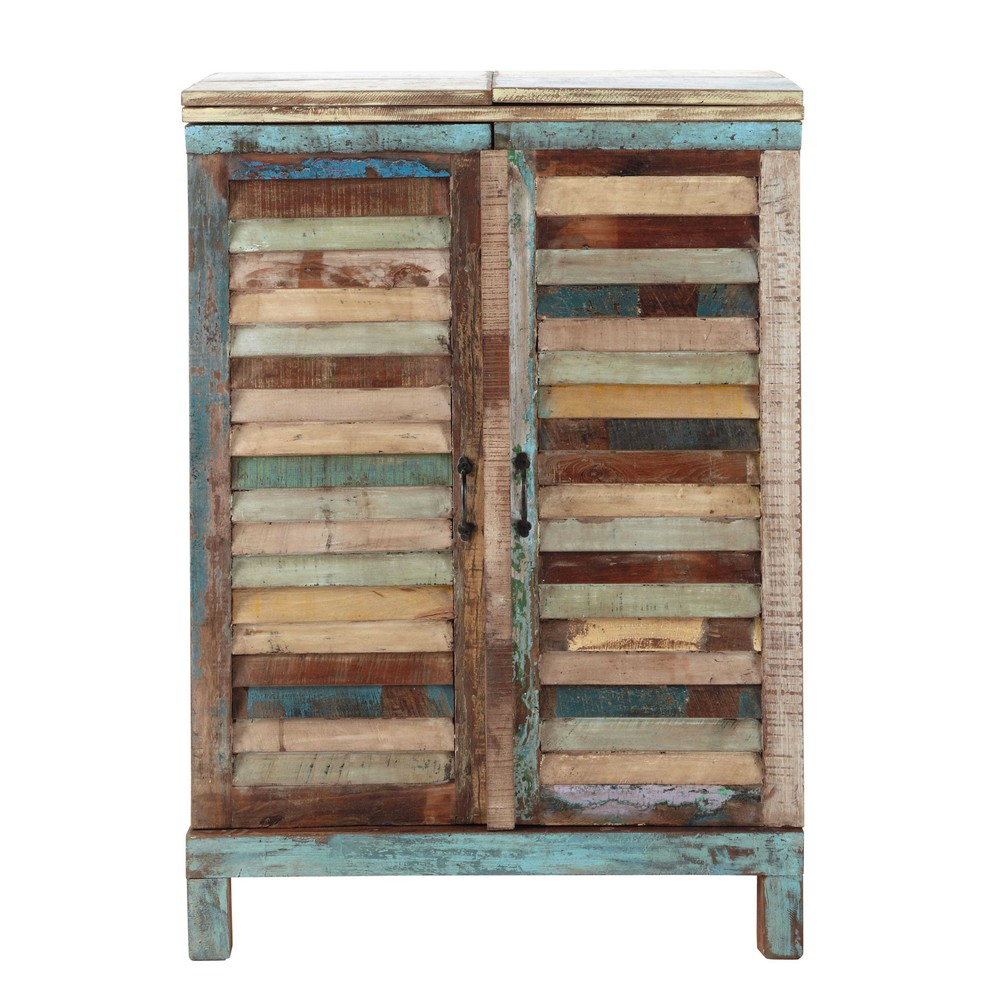 meuble de bar en bois recycl multicolore l 75 cm calanque. Black Bedroom Furniture Sets. Home Design Ideas