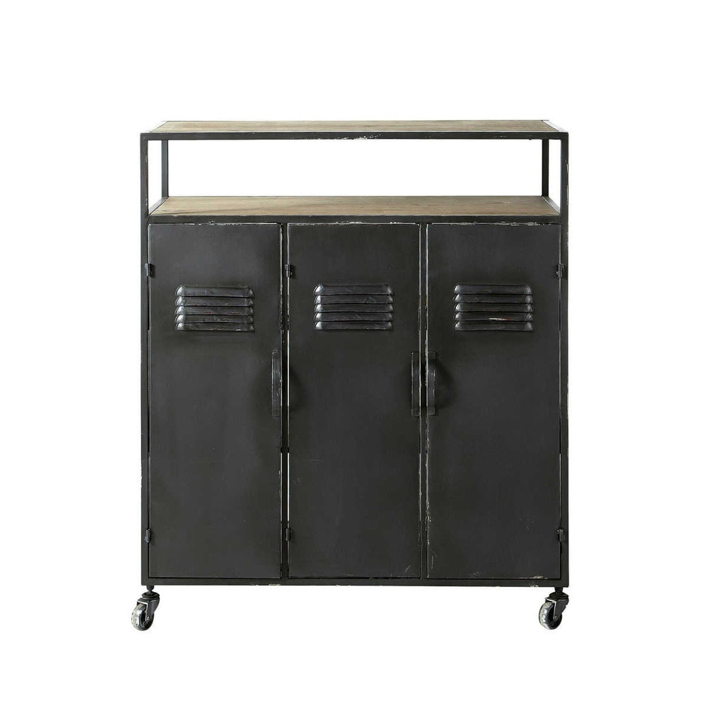 Meuble de bar indus roulettes en m tal anthracite l 85 for Maison du monde 85