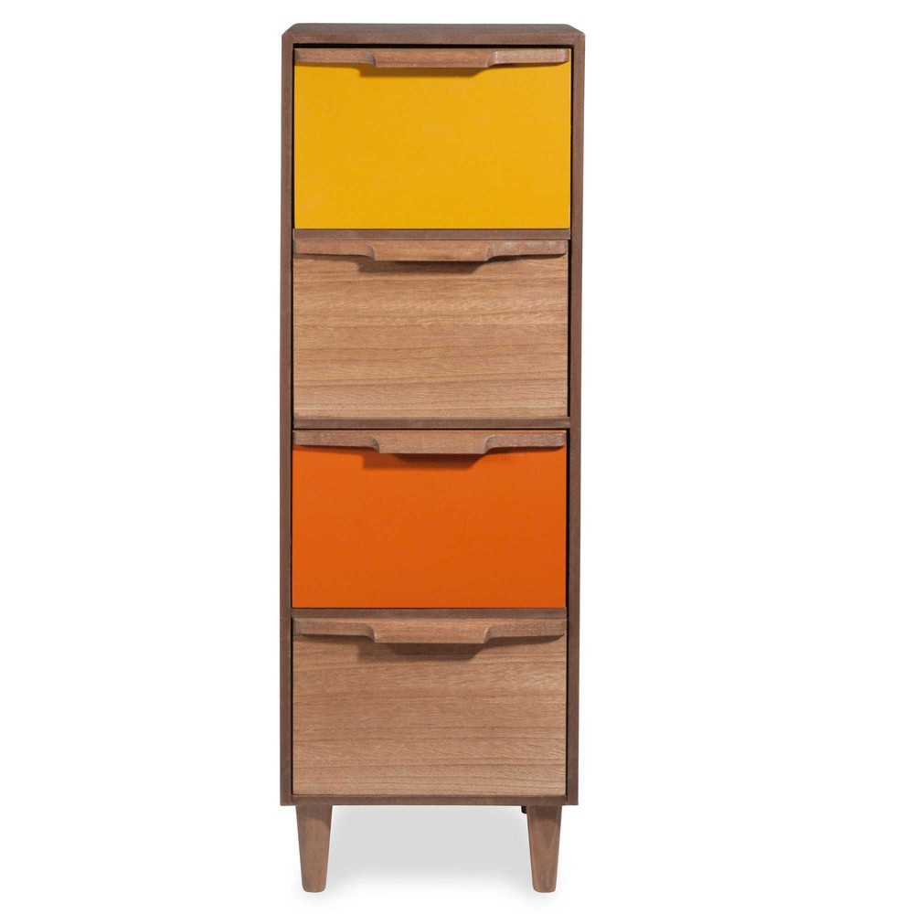 meuble de rangement 4 tiroirs tricolore tania maisons du monde. Black Bedroom Furniture Sets. Home Design Ideas