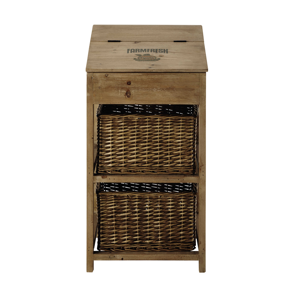meuble de rangement en bois et osier l 45 cm farm fresh. Black Bedroom Furniture Sets. Home Design Ideas