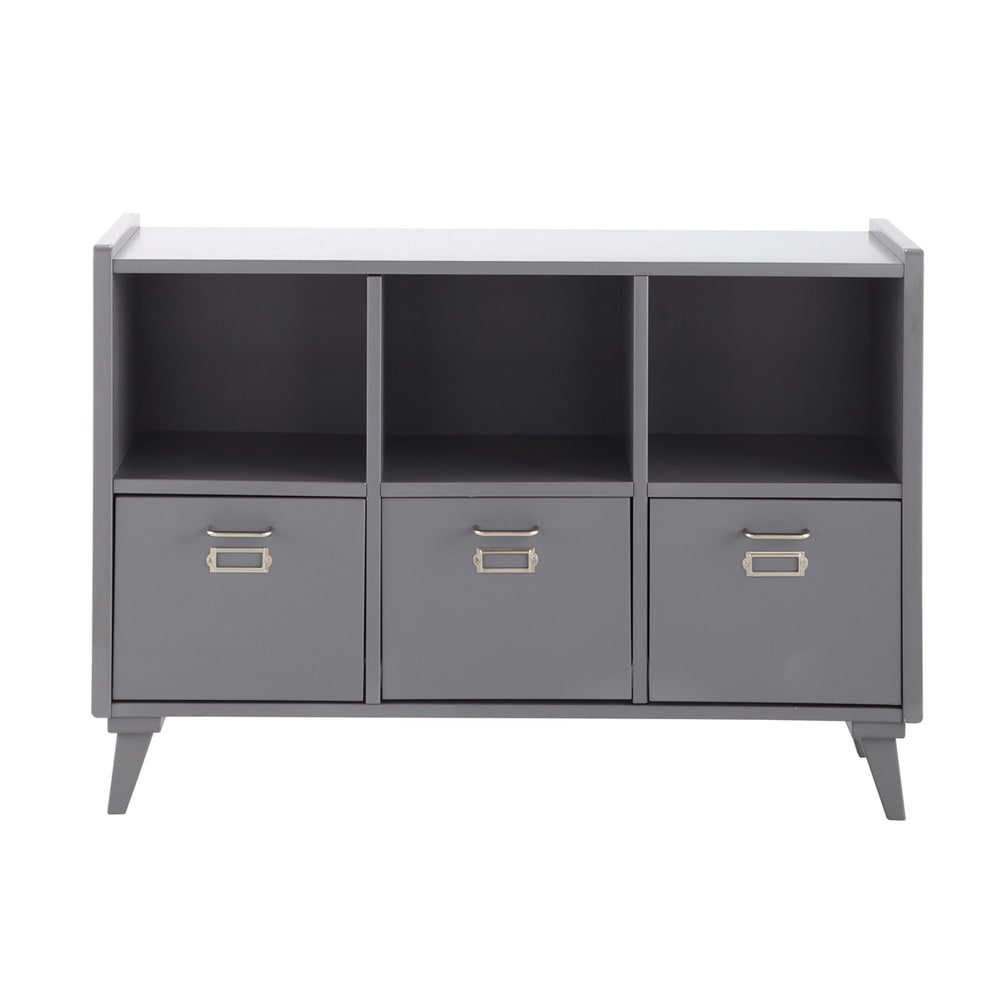 meuble de rangement en bois gris l 105 cm theo maisons du monde. Black Bedroom Furniture Sets. Home Design Ideas