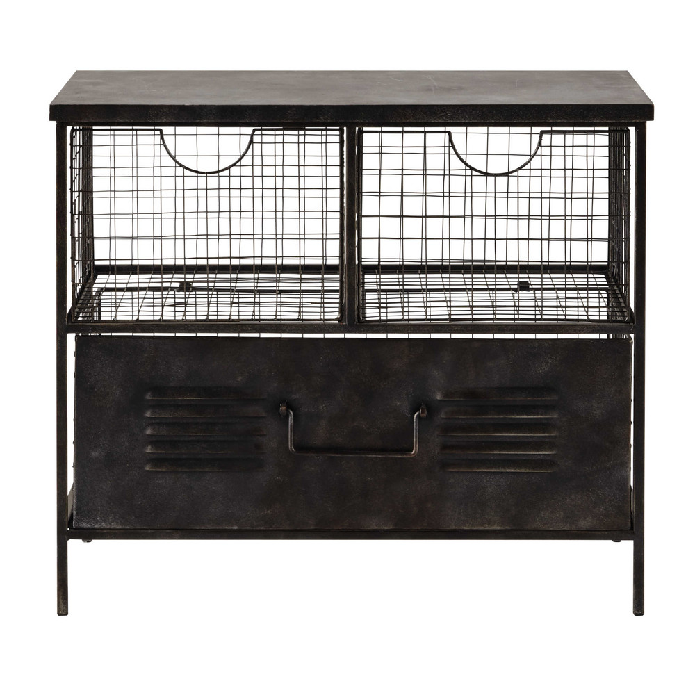 meuble de rangement en m tal noir l 66 cm etienne. Black Bedroom Furniture Sets. Home Design Ideas