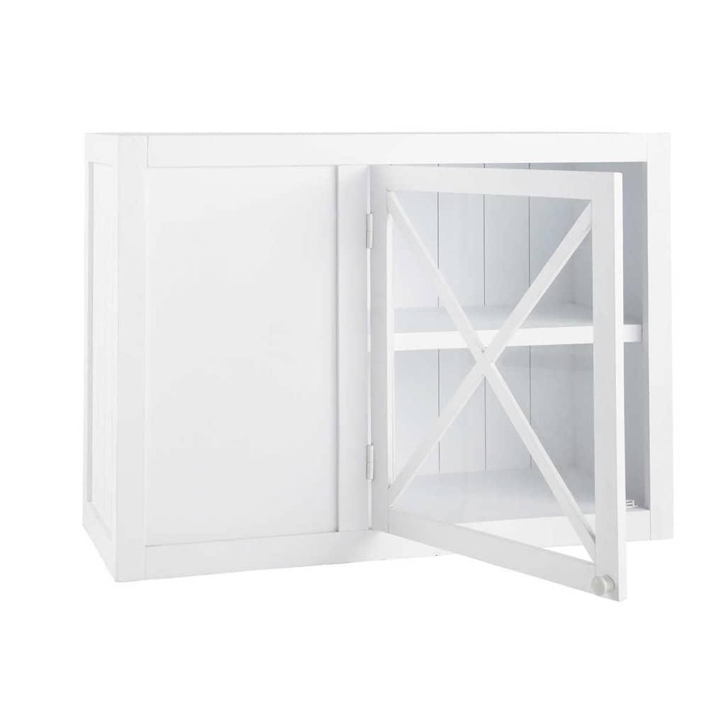 Meuble haut d 39 angle vitr de cuisine ouverture gauche en bois blanc l 97 cm newport maisons du - Meuble haut vitre cuisine ...