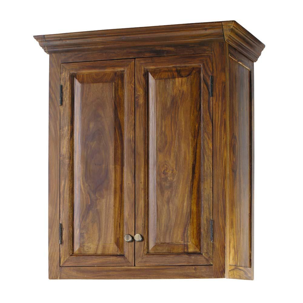 Meuble haut de cuisine en bois de sheesham massif l 60 cm for Meuble cuisine bois massif