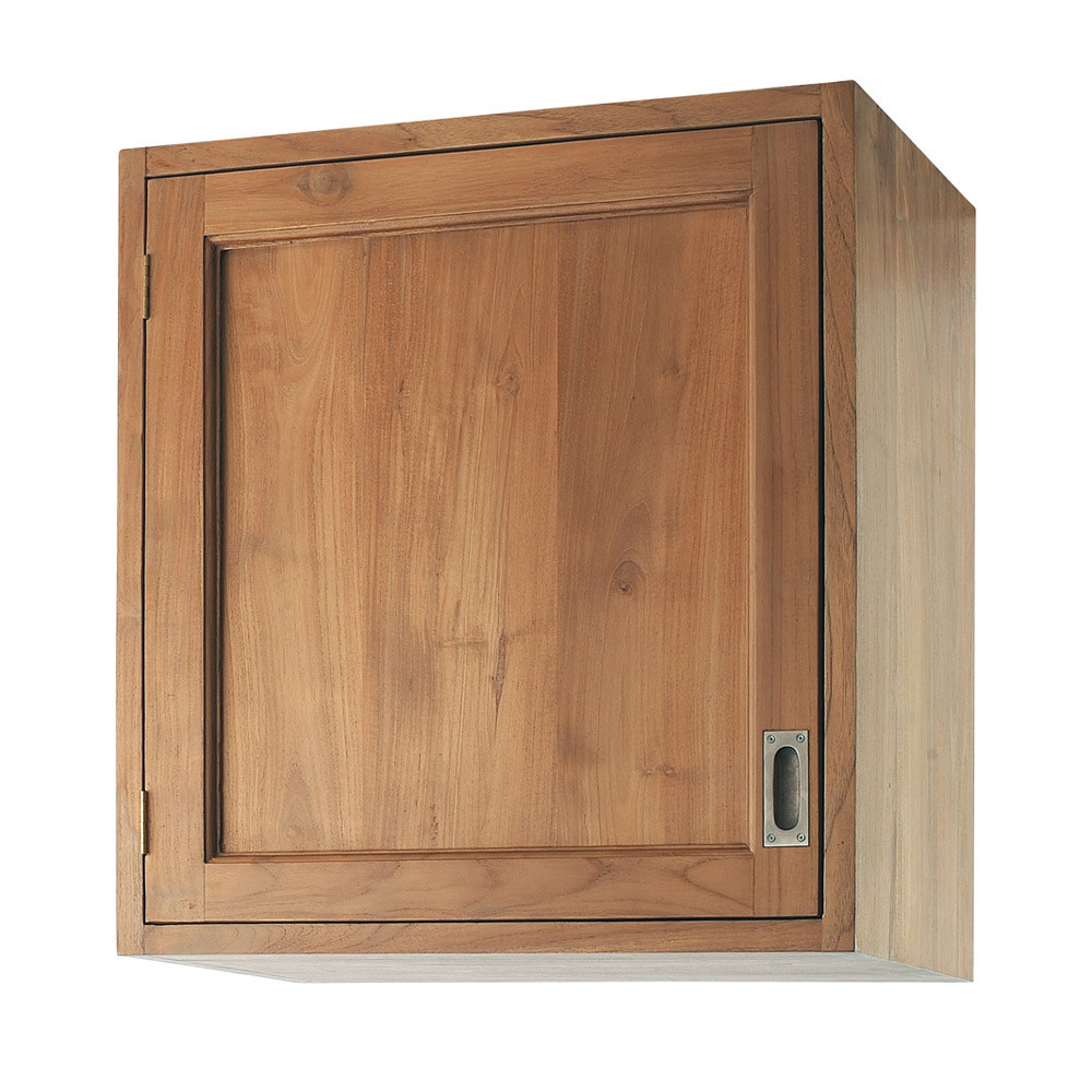 Meuble haut de cuisine ouverture droite en teck massif l for Meuble tv haut bois