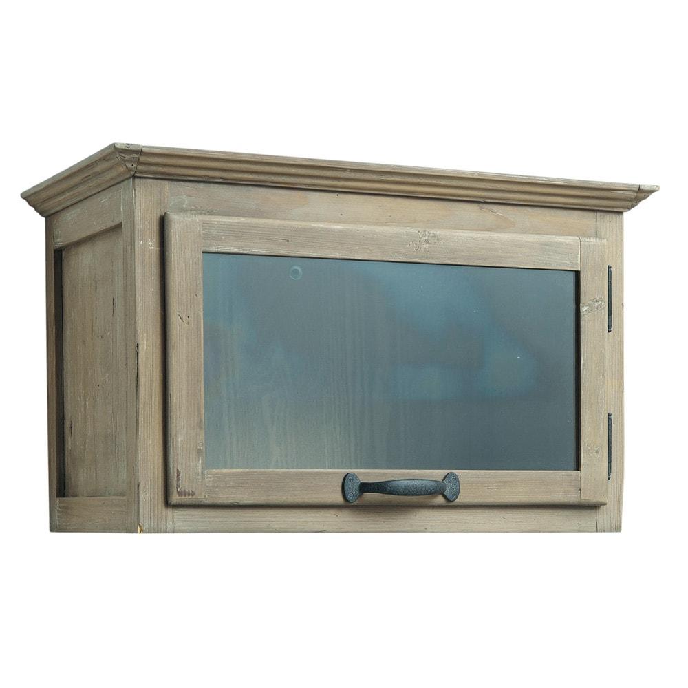 Meuble haut de cuisine ouverture gauche en bois recycl l for Meuble cuisine horizontal