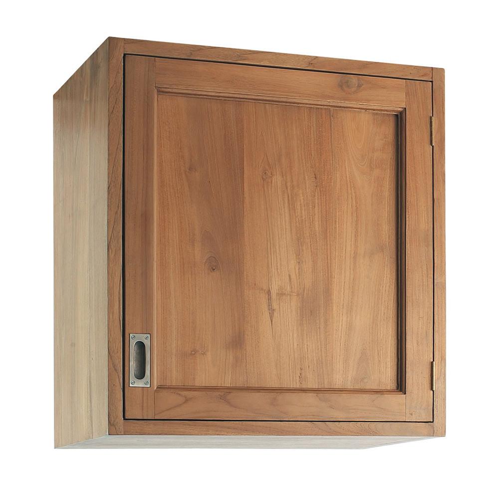 Meuble haut de cuisine ouverture gauche en teck massif l for Meuble haut 110 cm