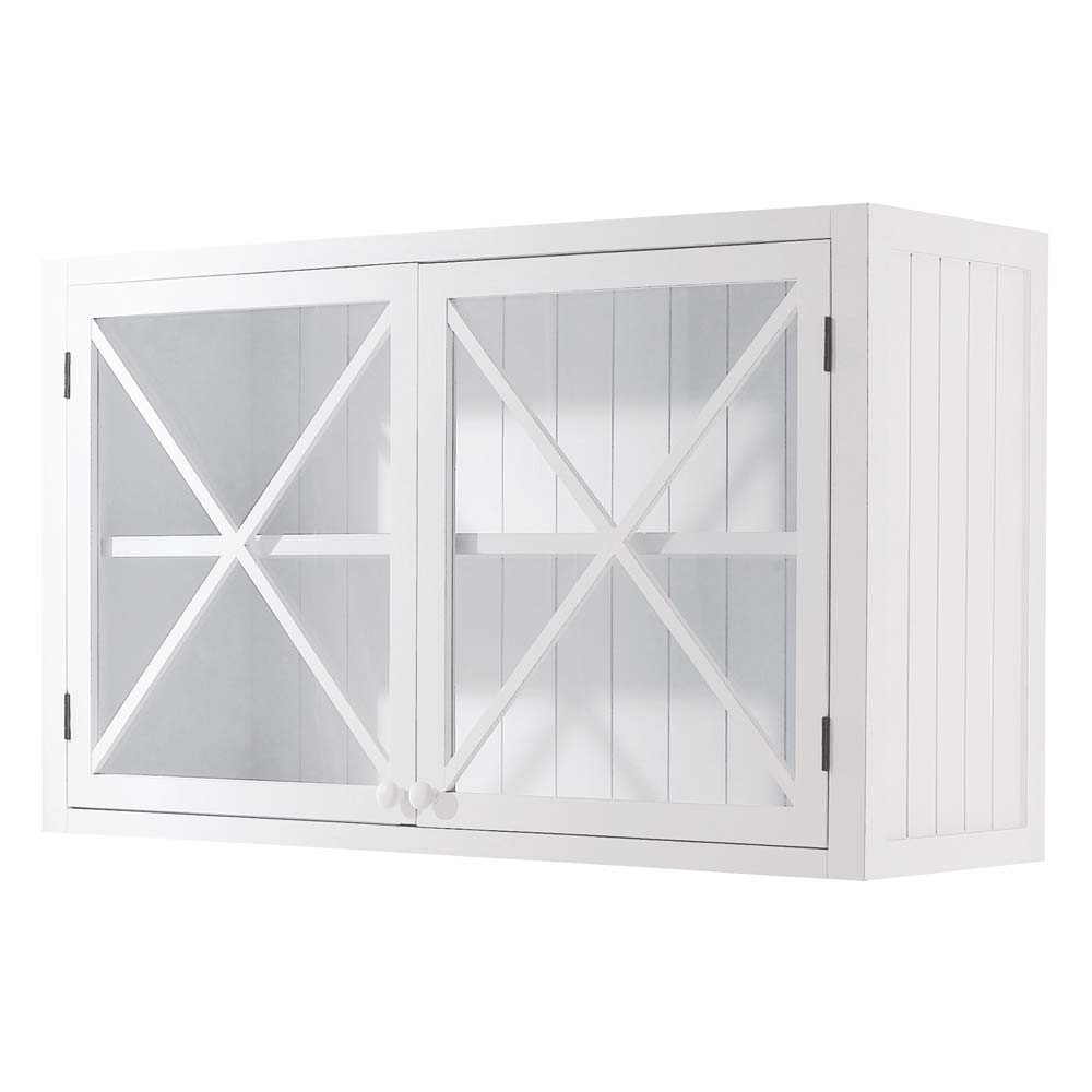 Meuble haut vitr de cuisine en pin blanc l 120 cm newport for Meuble haut 110 cm