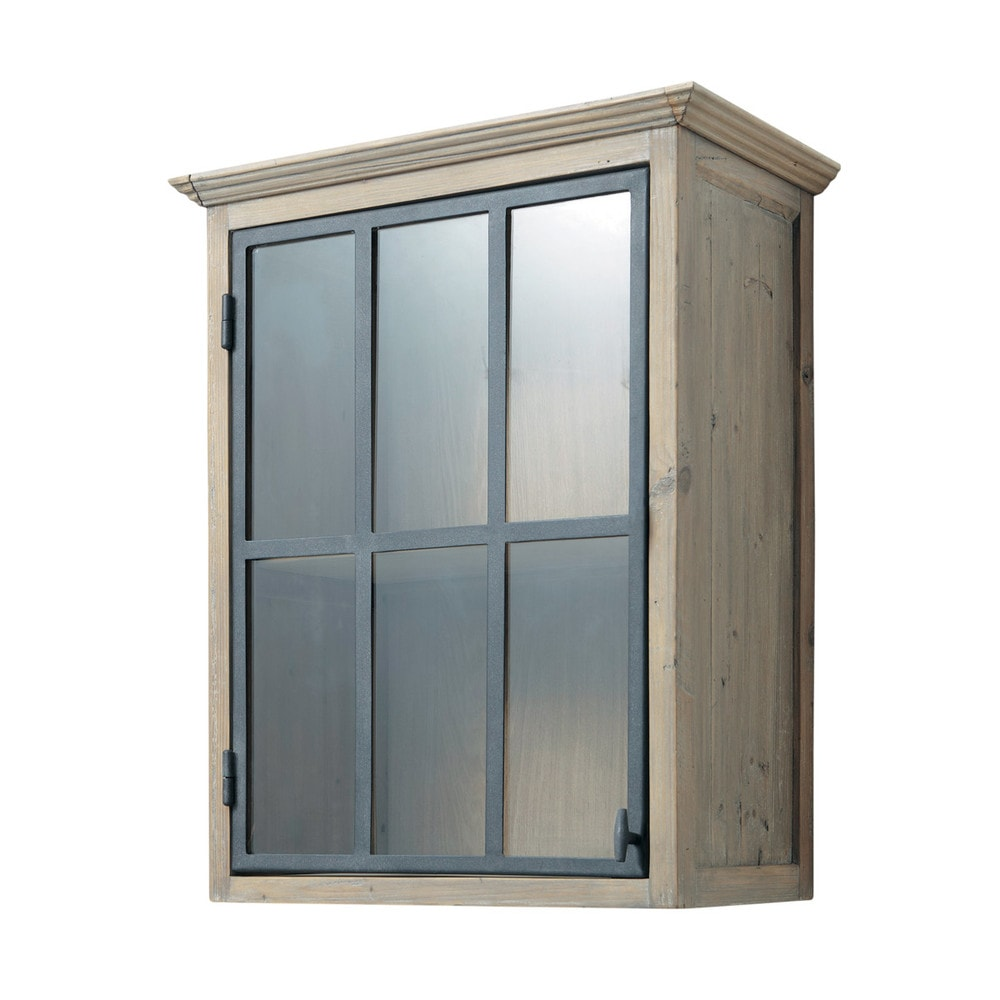 meuble haut vitré de cuisine ouverture droite en bois recyclé l 60 ... - Meuble Haut Cuisine Vitre