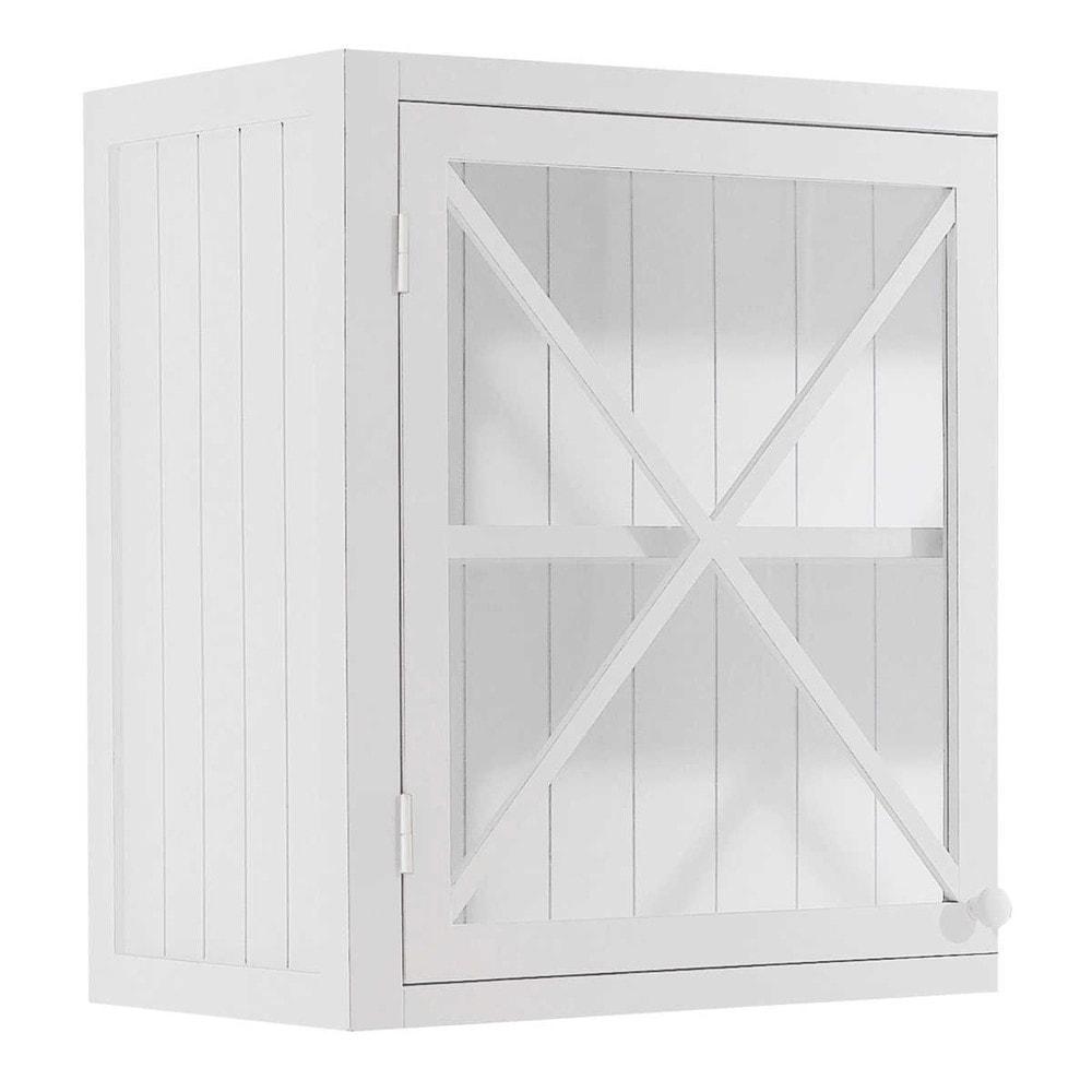 Meuble haut vitr de cuisine ouverture droite en pin blanc for Meuble mural vitre