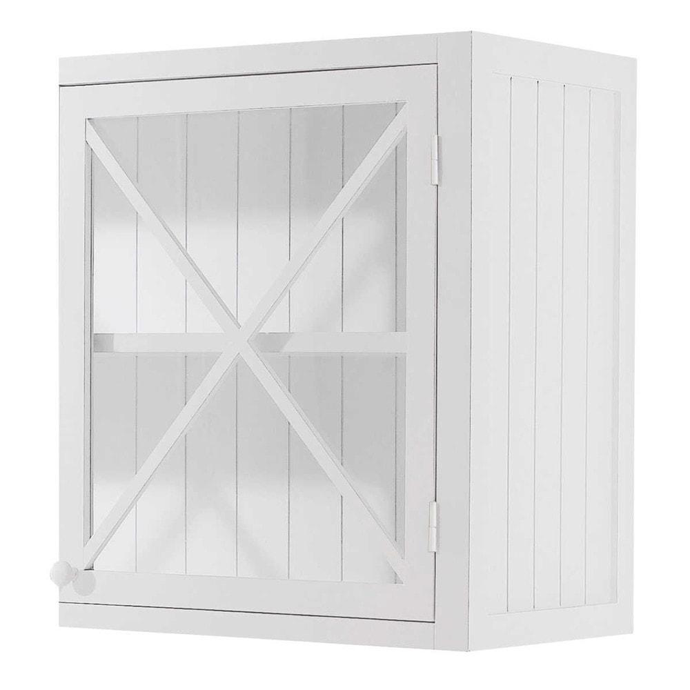 meuble haut vitré de cuisine ouverture gauche en pin blanc l 60 cm ... - Meuble Haut Vitre Cuisine