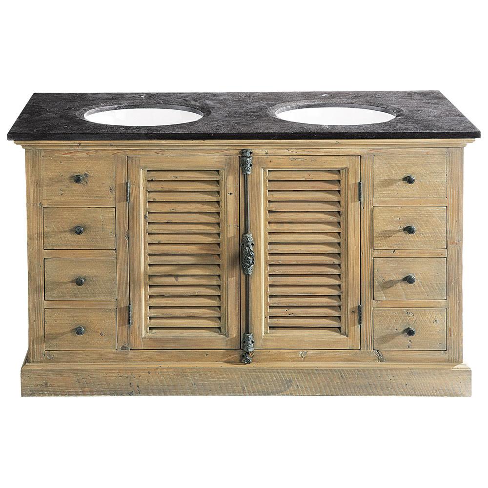 Meuble salle de bain double vasque en bois et pierre bleue for Salle de bain bois et ardoise