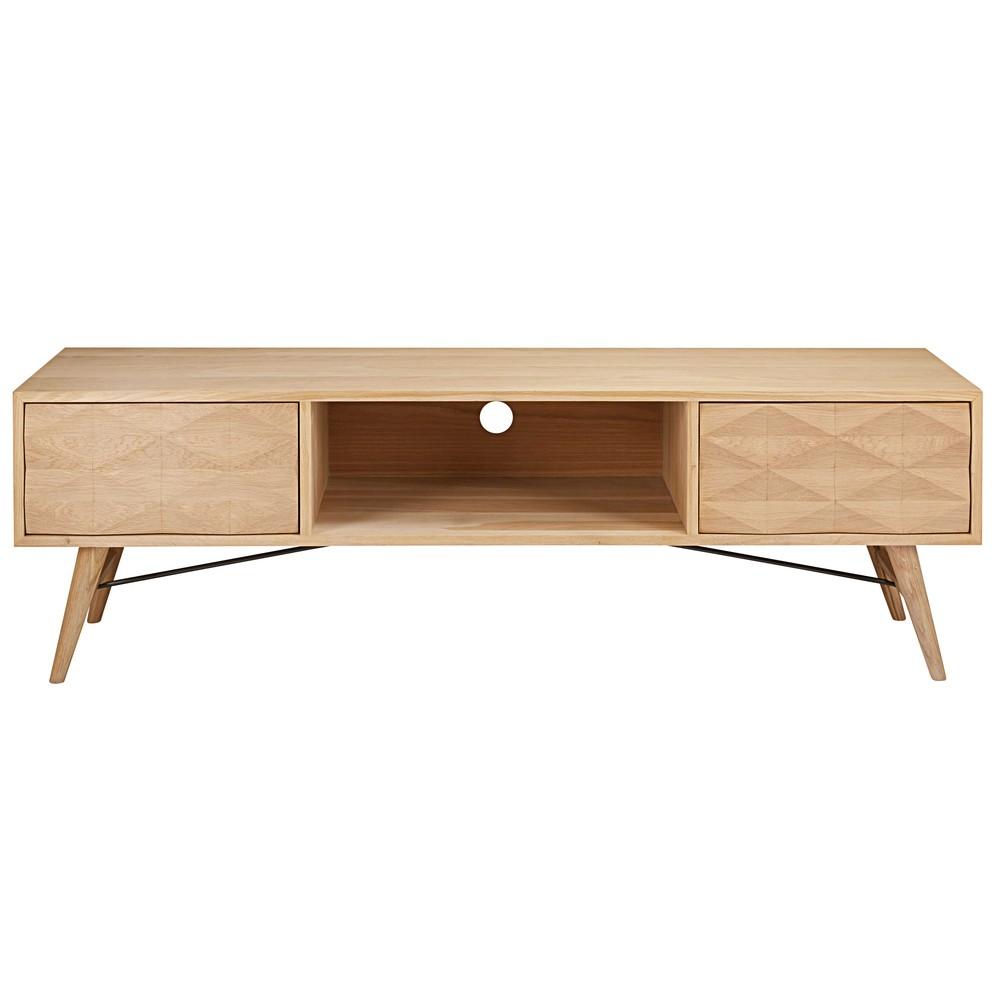 meuble tv 2 tiroirs en ch ne massif fran ais keops. Black Bedroom Furniture Sets. Home Design Ideas