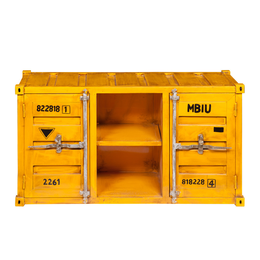meuble tv container en m tal jaune l 129 cm carlingue maisons du monde. Black Bedroom Furniture Sets. Home Design Ideas