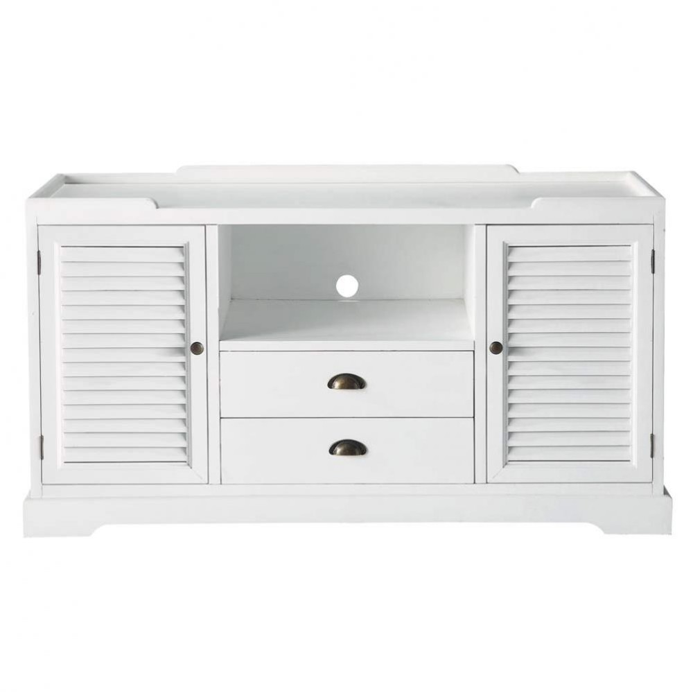 meuble tv en bois blanc l 140 cm barbade maisons du monde. Black Bedroom Furniture Sets. Home Design Ideas