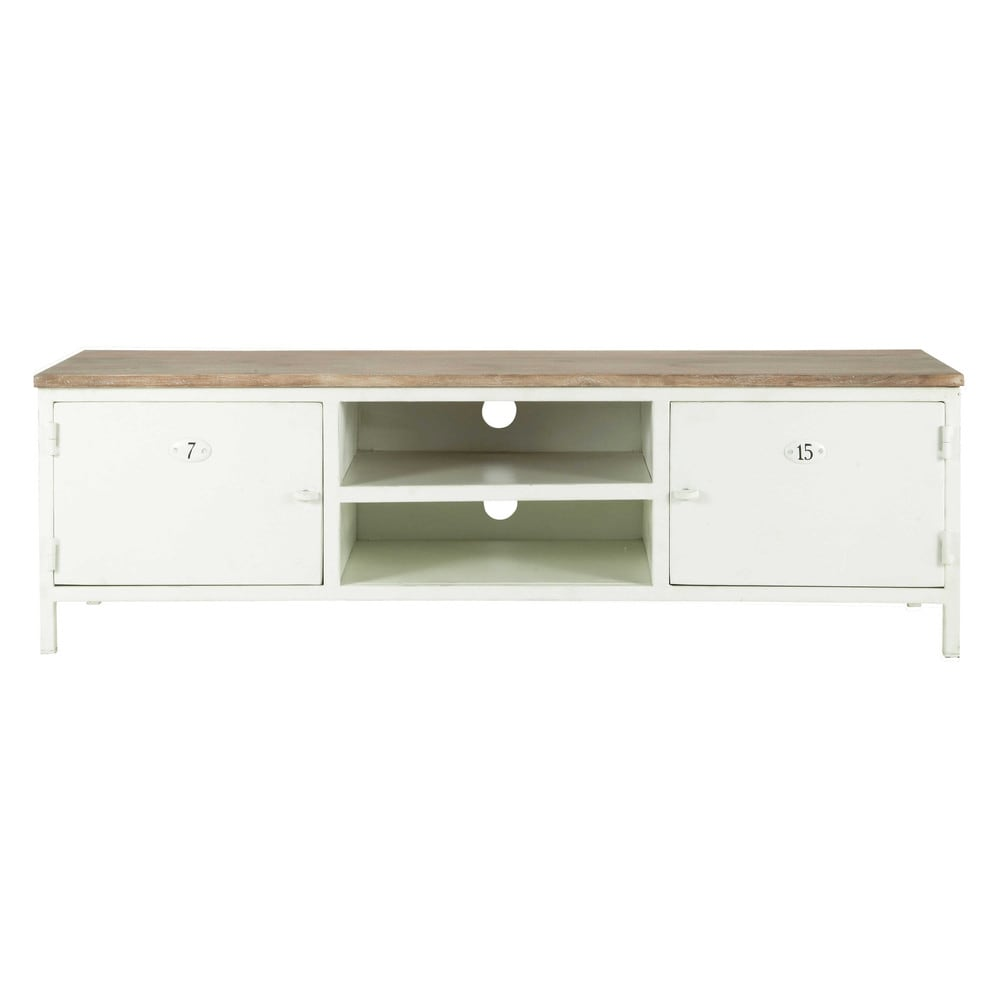 meuble tv en m tal et manguier blanc l 153 cm copernic maisons du monde. Black Bedroom Furniture Sets. Home Design Ideas