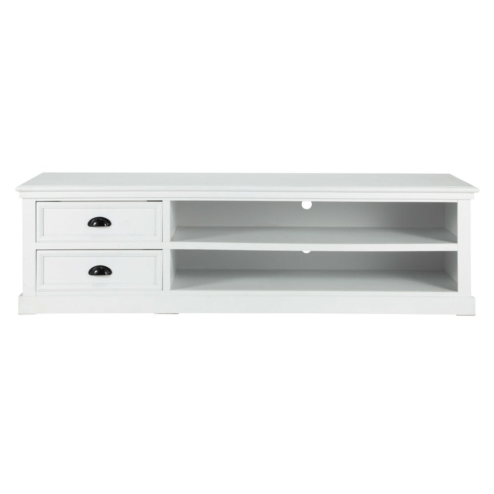 Meuble tv en pin blanc l 160 cm newport maisons du monde for Meuble tv long blanc