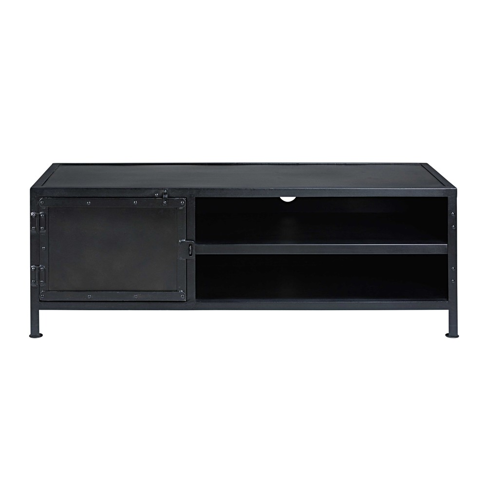 meuble tv indus 1 porte en m tal noir edison maisons du. Black Bedroom Furniture Sets. Home Design Ideas