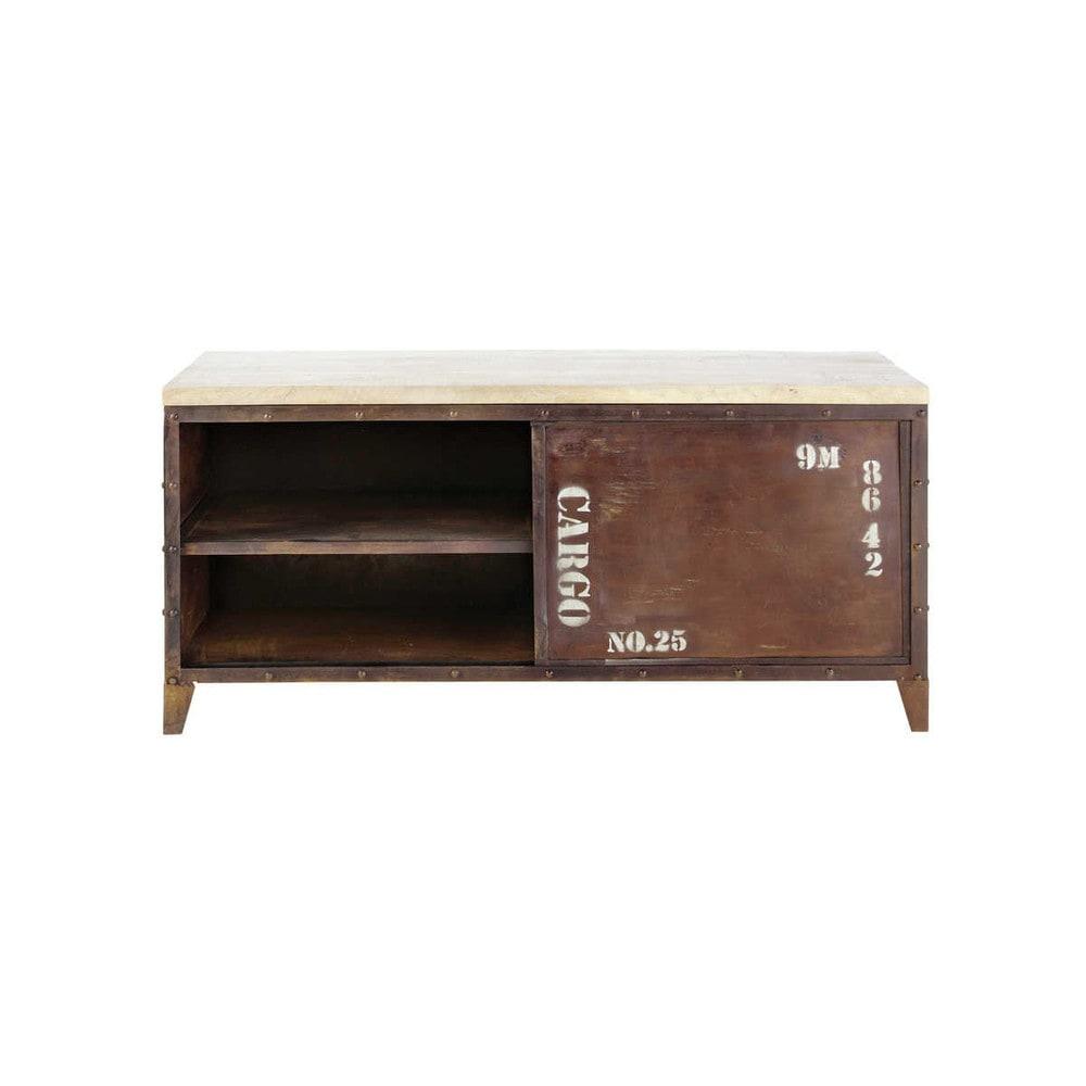 meuble tv indus en m tal et bois effet rouille l 117 cm atlantide maisons du monde. Black Bedroom Furniture Sets. Home Design Ideas
