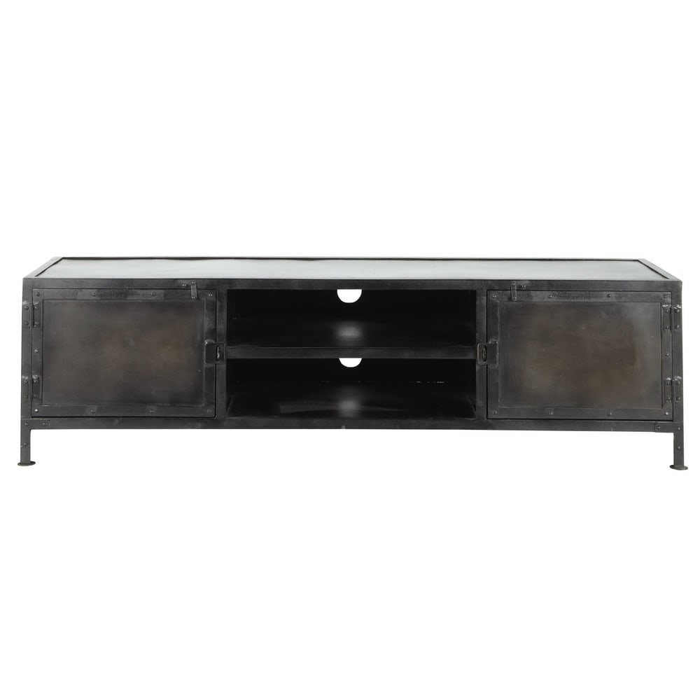 meuble tv indus en m tal noir l 150 cm edison maisons du. Black Bedroom Furniture Sets. Home Design Ideas