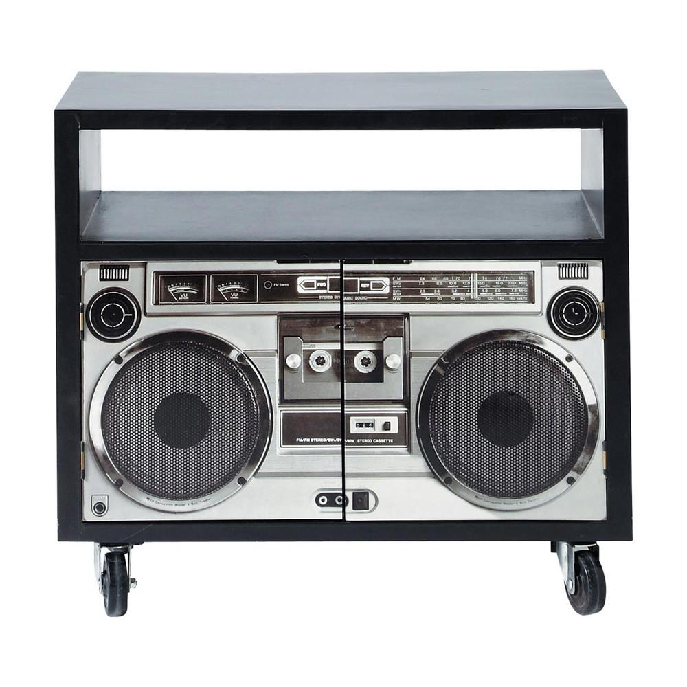 meuble tv noir stereo maisons du monde. Black Bedroom Furniture Sets. Home Design Ideas
