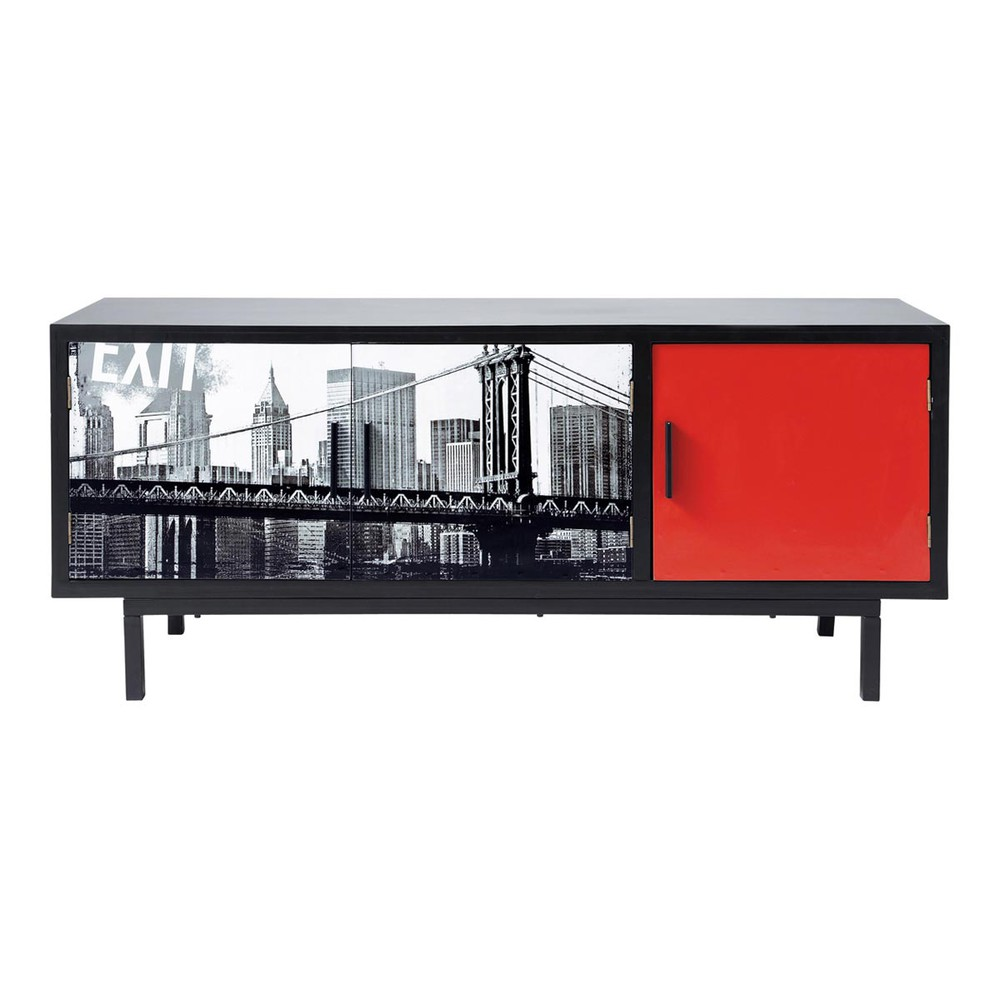 meuble tv noir times square maisons du monde. Black Bedroom Furniture Sets. Home Design Ideas