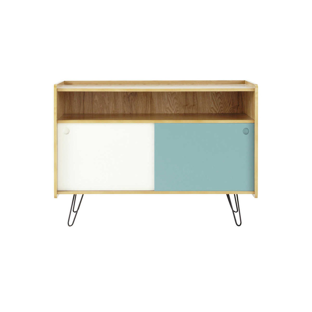 meuble tv vintage en bois blanc et bleu l 105 cm twist maisons du monde. Black Bedroom Furniture Sets. Home Design Ideas