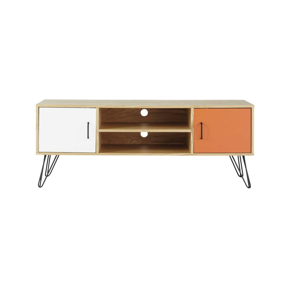 Meuble tv vintage en bois blanc et orange l 130 cm twist for Meuble orange