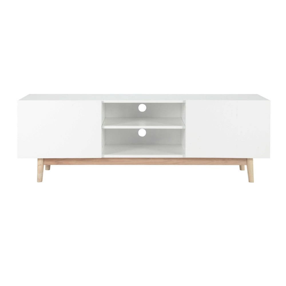 meuble tv vintage en bois blanc l 150 cm artic maisons du monde. Black Bedroom Furniture Sets. Home Design Ideas