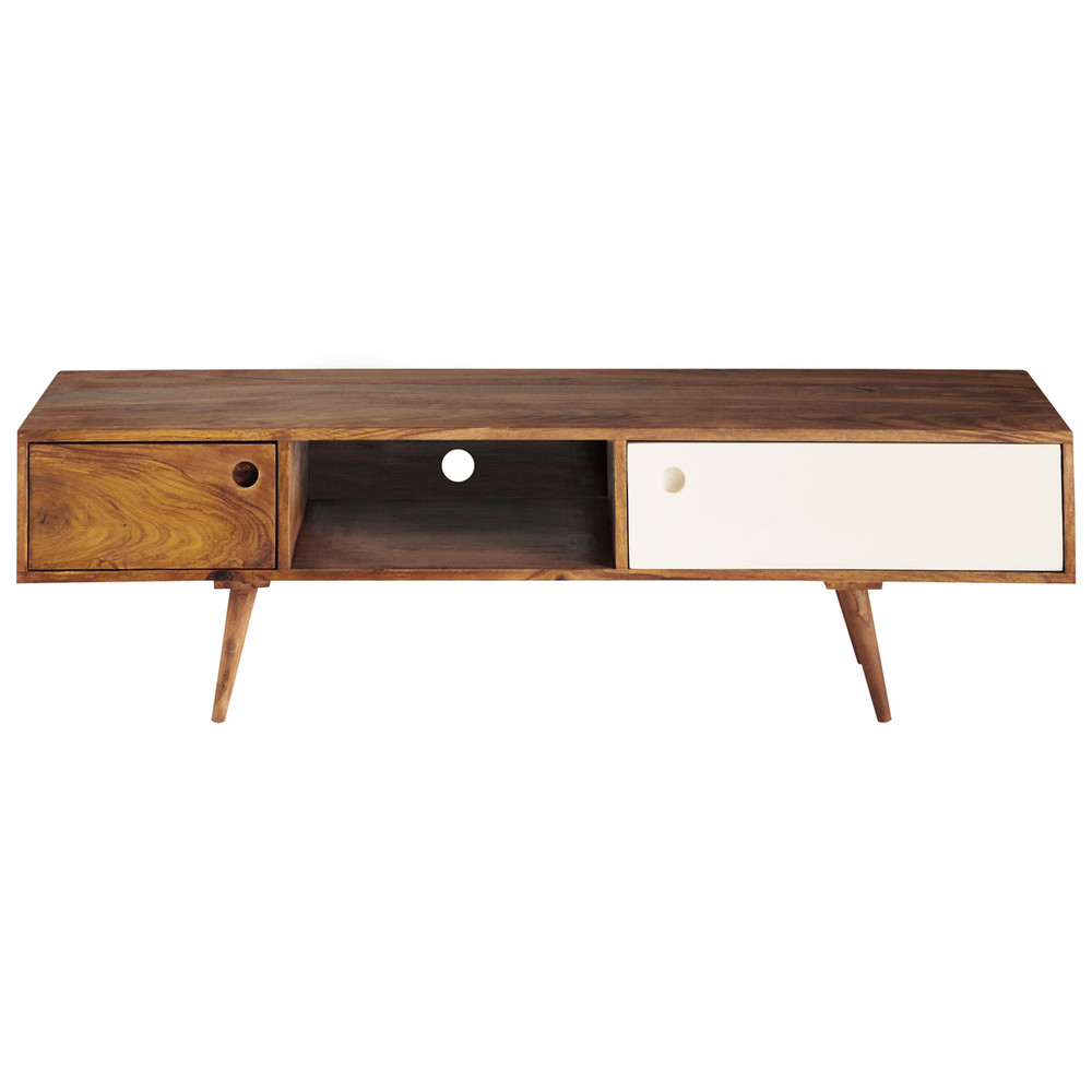 Meuble tv vintage en bois de sheesham l 140 cm andersen for Meuble bureau 140